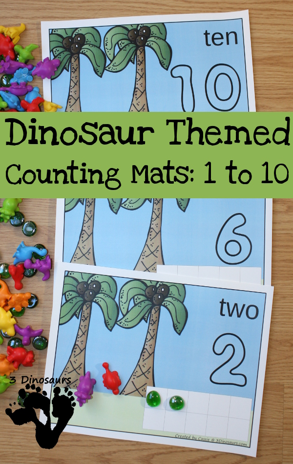 Free Dinosaur Themed Counting Mats: Number 1 to 10 - these are great for hands-on counting - 3Dinosaurs.com