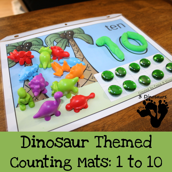 Free Dinosaur Themed Counting Mats: Number 1 to 10 - 3Dinosaurs.com