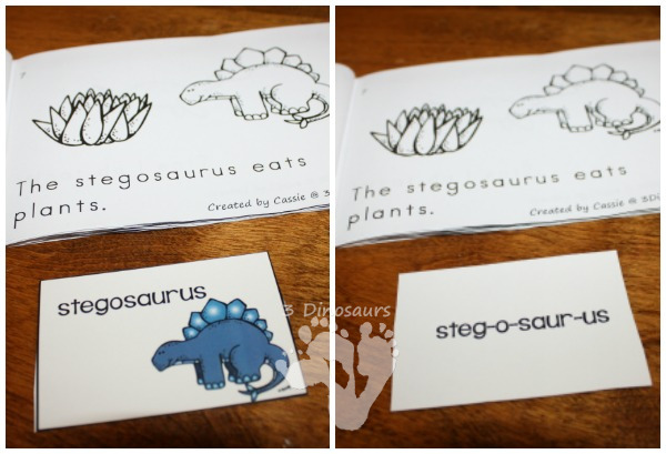 Free Dinosaur Themed Easy Reader book - 16 page book with dinosaur words with sight words eat, what - 3Dinosaurs.com