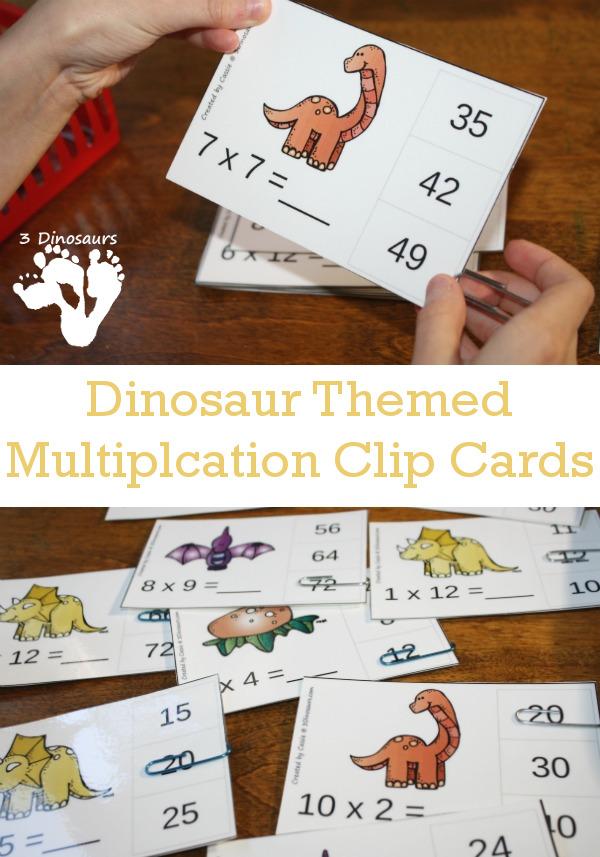 Free Dinosaur Themed Multiplication Clip Cards - 10 pages of clip cards multiplication 1 through 12 - 3Dinosaurs.com