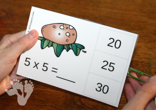 Free Dinosaur Themed Multiplication Clip Cards - 11 pages of clip cards multiplication 1 through 12 - 3Dinosaurs.com