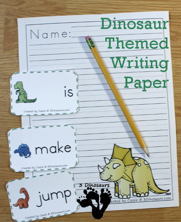 Free Roaring Dinosaur Themed Writing Paper For Kids - 7 different dinosaurs to pick from - 3Dinosaurs.com