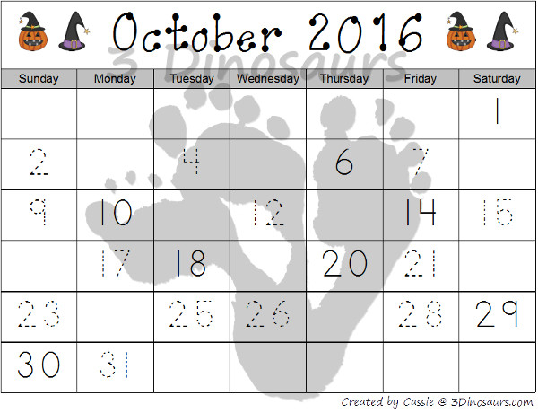 FREE Halloween 2016 Calendar Set - calendar cards and single pages for October 2016 - 3Dinosaurs.com