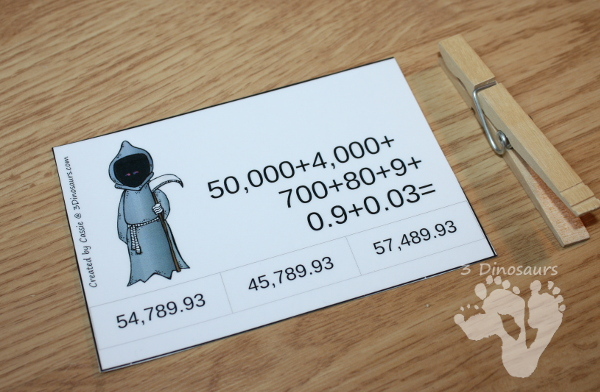 FREE Halloween Themed Place Value Clip Cards - 3 levels: up to hundreds, up to hundred thousand and mix with decimals - 3Dinosaurs.com