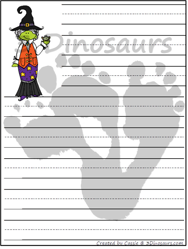Fun Free Halloween Themed Writing Paper - 10 pictures to pick from - 3Dinosaurs.com