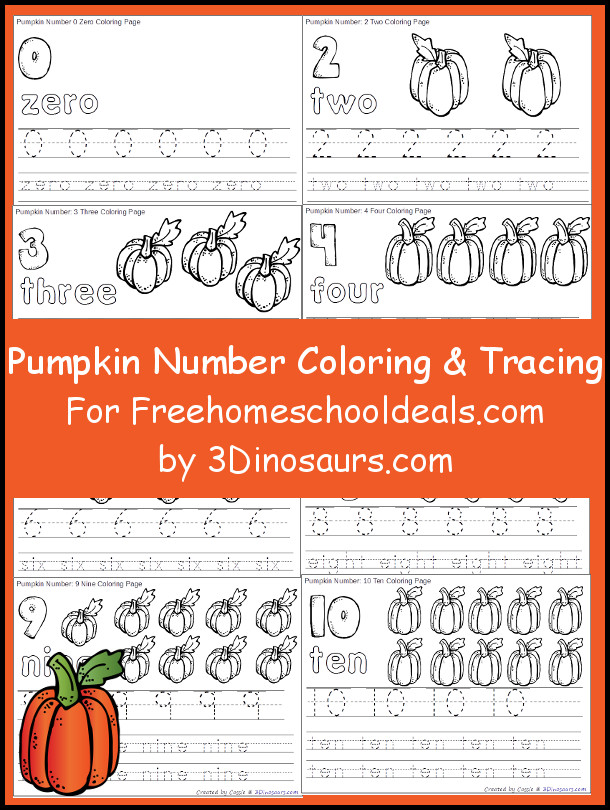 Free Pumpkin Number & Color Tracing Printable - 3Dinosaurs.com