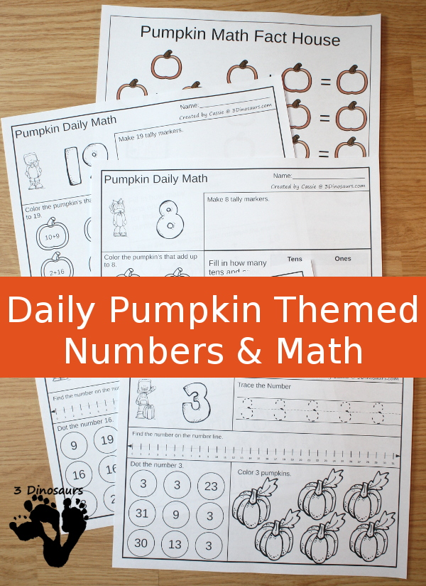 Pumpkin Daily Number & Math Sets - $ no prep printable - 31 pages for each set plus extras - 3Dinosaurs.com