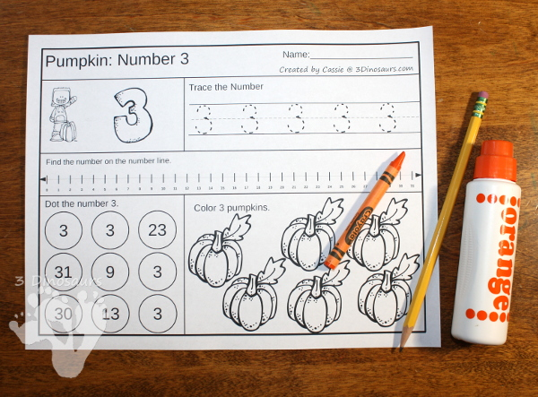 Pumpkin Daily Number & Math Sets - $ 31 pages for each set plus extras - 3Dinosaurs.com