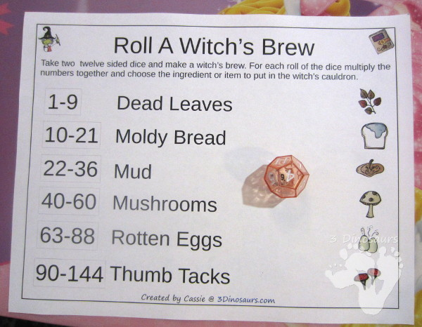 Free Roll A Witch's Brew Printable - 3 Levels of learning: counting, addition, and multiplication - 3Dinosaurs.com