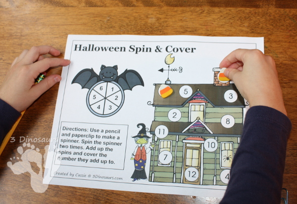 FREE Spin & Cover Halloween Math - 3 levels of math - 3Dinosaurs.com
