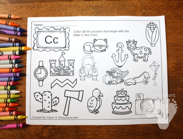 FREE No Prep ABC Find & Color for Thanksgiving Fun: C, H, M, P and T - 3Dinosaurs.com