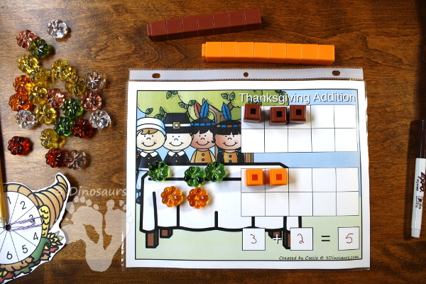 Free Thanksgiving Themed Addition & Subtraction Mats: adding or subtracting using numbers 1 to 10 - 3Dinosaurs.com
