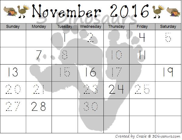 Free 2016 Thanksgiving Calendar Set - 3Dinosaurs.com