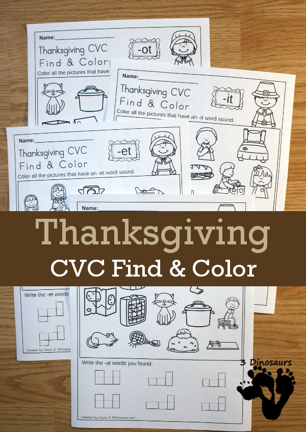 FREE No Prep CVC Find & Color Thanksgiving Fun: for cvc word families: -at, -et, -it, and -ot - 3Dinosaurs.com
