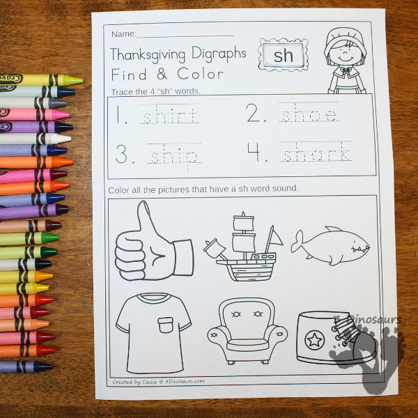 FREE No Prep Thanksgiving Digraph Find & Color: for beginning digraph: ch, sh, th and wh - 3Dinosaurs.com