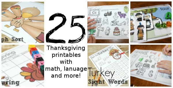 25+ Gobbling Fun Printables for Thanksgiving - with themed packs, language, math and other printables from 3 Dinosaurs & Royal Baloo