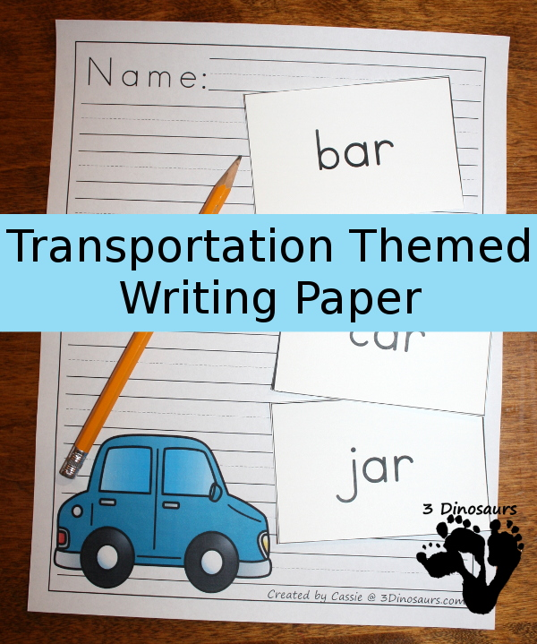 Free Transportation Themed Writing Paper - 8 different images and 2 different line types to use with vehicles on them - 3Dinosaurs.com