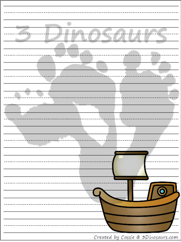 Free Transportation Themed Writing Paper - 8 different images and 4 page types to use with vehicles - 3Dinosaurs.com