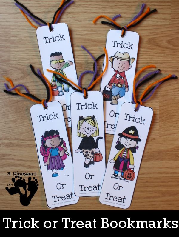 Free Trick or Treat Themed Bookmarks - 8 different ones to pick from for Halloween - 3Dinosaurs.com