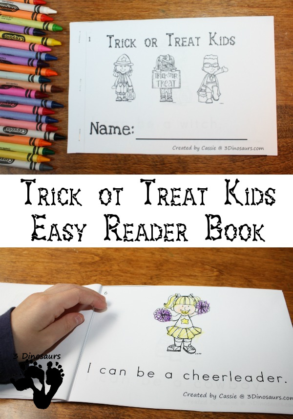 FREE Trick or Treat Kids Easy Reader Book - 10 page book for prek or Kindergarten - 3Dinosaurs.com
