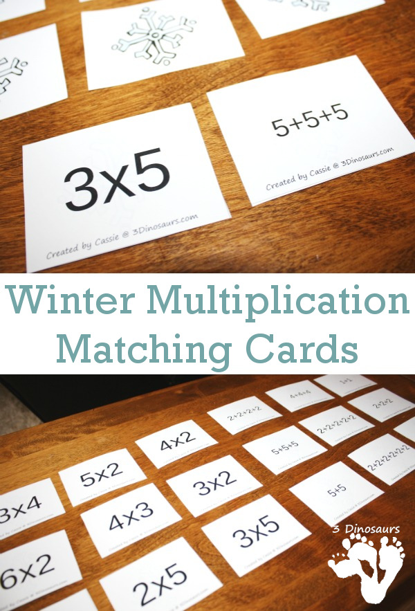 Free Winter Themed Multiplication Matching Cards - 2 types of cards to match - 3Dinosaurs.com