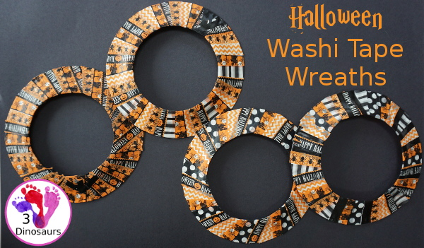 Fun Fine Motor Craft: Washi Tape Halloween Wreath - kids will get will work on fine motor skills while making a fun wreath for Halloween. - 3Dinosaurs.com