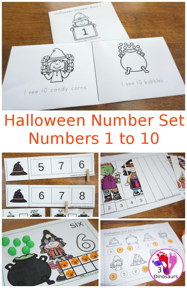 Halloween Number Set: Numbers 1 to 10 - easy reader books, hands-on activities, no-prep worksheets and more $ - 3Dinosaurs.com
