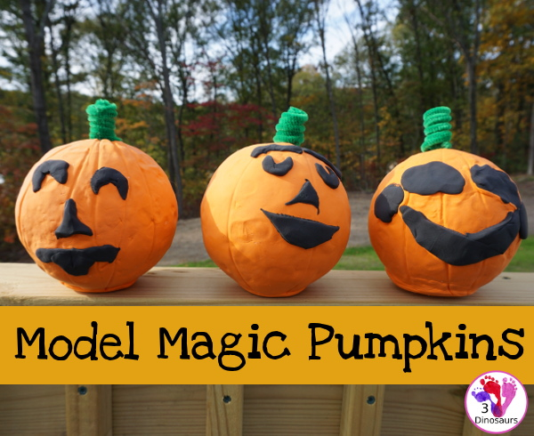 Fun to Make Model Magic Pumpkins - fun hands-on craft to make for the book 5 Little Pumpkins - 3Dinosaurs.com