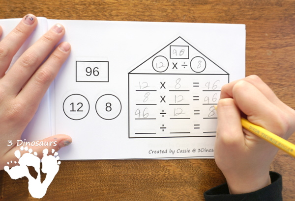 Multiplication & Division Math Fact House Books - 2 types of books for beginners and review books for more advance students $ - 3Dinosaurs.com