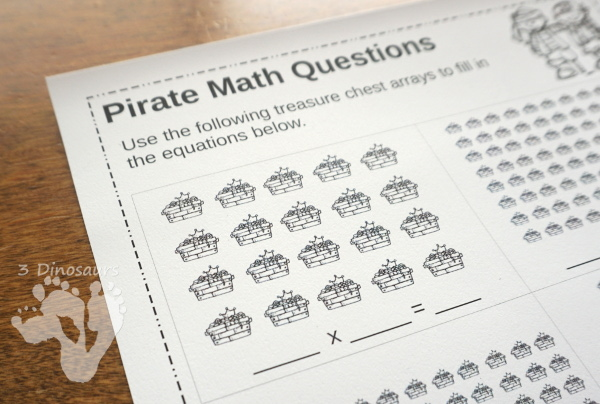 Free No-Prep Pirate Themed Array Printables - 2 pages with 6 problems per page - 3Dinosaurs.com