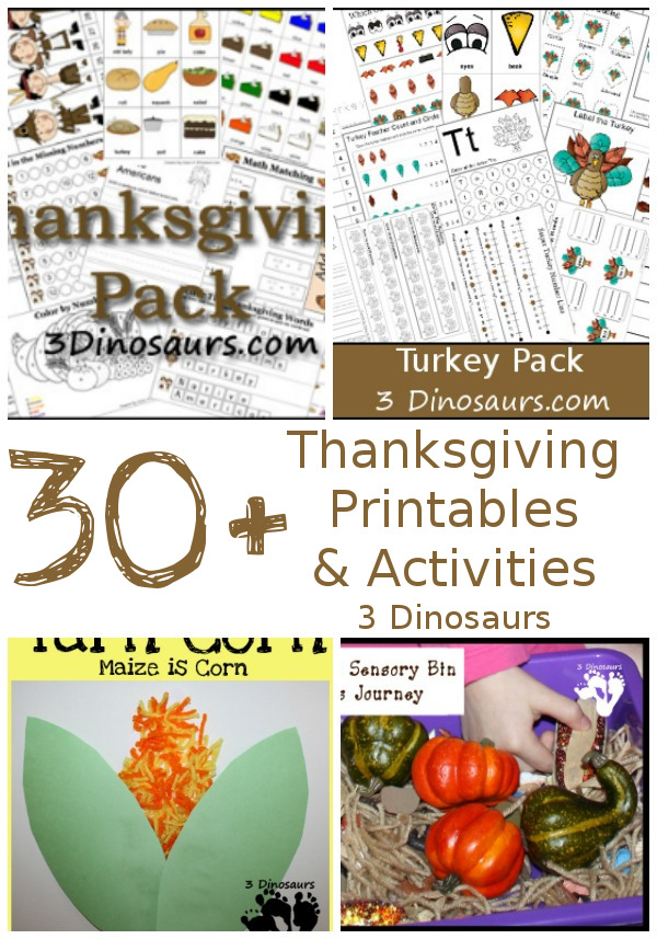 30+ Thanksgiving Activities & Printables | 3 Dinosaurs