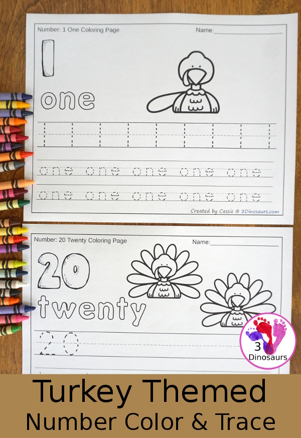 No-Prep Turkey Themed Number Color and Trace - easy no-prep printables with a fun turkey theme 44 pages with two options for the numbers tracing or writing $ - 3Dinosaurs.com