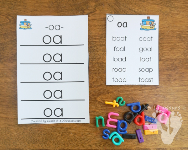 Free Fun Hands-On Vowel Team Ladders - 6 pages of printables - 3Dinosaurs.com