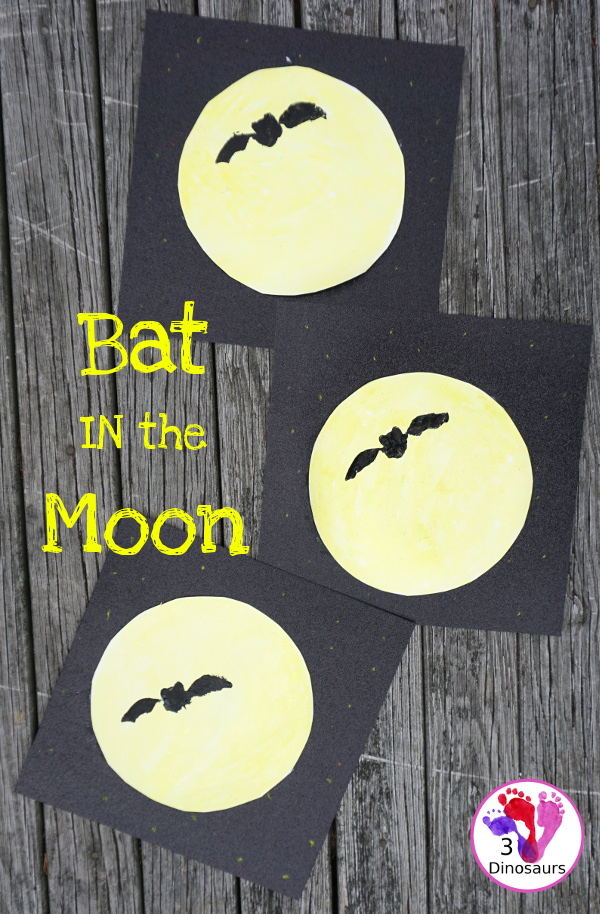 Bat in the Moon - A Fun Halloween Painting - with a fun book tie in for Stellaluna - 3Dinosaurs.com
