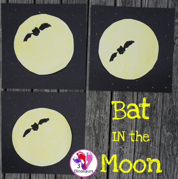 Bat in the Moon - A Fun Halloween Painting - with a fun book tie-in for Stellaluna - 3Dinosaurs.com