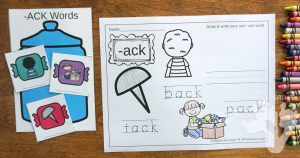 Hands-On Fun With Candy Themed CVCC -CK Word Sorting - 15 cards and 5 sorting mats with matching worksheet - 3Dinosaurs.com #freeprintable #cvcc #endingblends #learningtoread