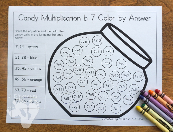 Free Candy Multiplication Color by Answer has numbers 1 to 12 and is an easy no-prep printable - 3Dinosaurs.com #freeprintable #multiplication #thirdgrade #fourthgrade