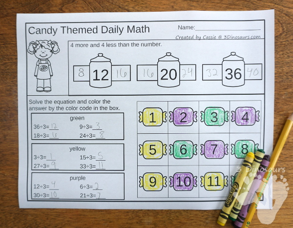 No-Pre Candy Multiplication  & Division with 30 pages of no-prep printables plus math center for multiplication - 3Dinosaurs.com #division #no-prep #multiplication #thirdgrade #fourthgrade