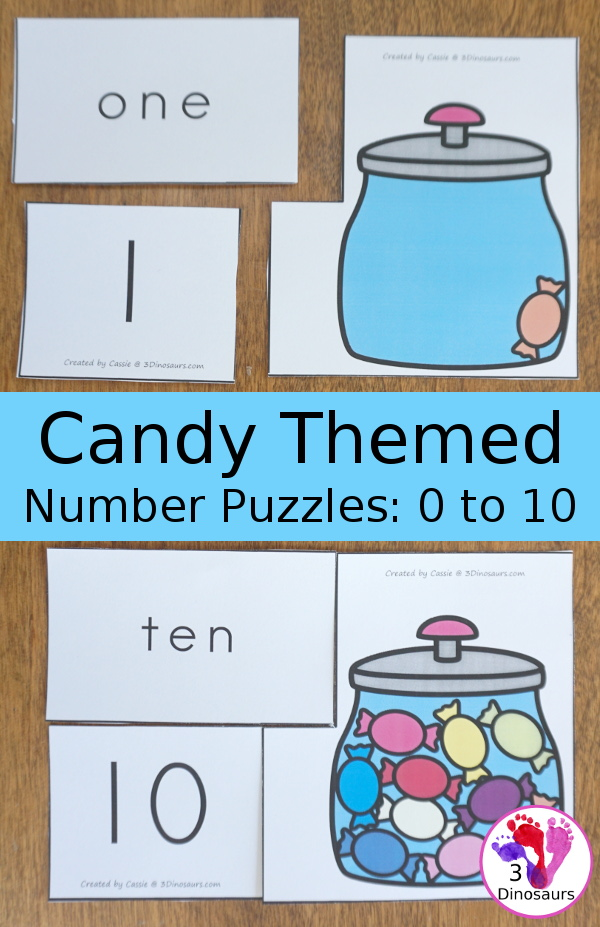 Free Hands-On Learning With Candy Number Puzzles - numbers 0 to 10 with number digit, number word, and matching candy in a jar - 3Dinosaurs.com #freeprintable #numbers #kindergarten #prek