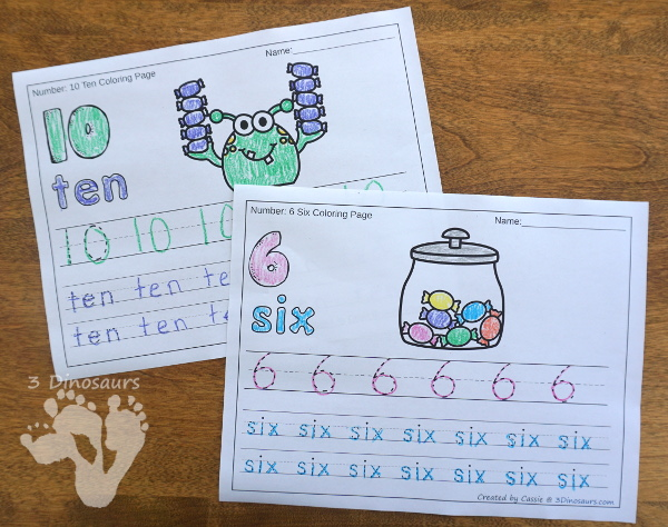 No-Prep Candy Jar & Candy Monster Themed Number Color and Trace - easy no-prep printables with a fun candy theme 44 pages with two options for the numbers tracing or writing $ - 3Dinosaurs.com #noprepprintable #candyprintables #numbersforkids