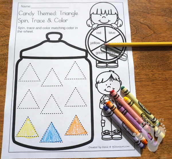 Free Candy Shape Spin, Trace & Color - with 8 shapes in the jars in a no-prep printable for kids. - 3Dinosaurs.com #freeprintable #finemotor #shapes #preschool #kinder