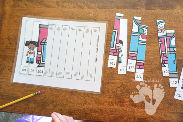 Free Hands-On Candy Themed Skip Counting by 8 Puzzles - work on skip counting by 8 with these fun puzzles. - 3Dinosaurs.com #freeprintable #mathforkids #skipcounting #3dinosaurs