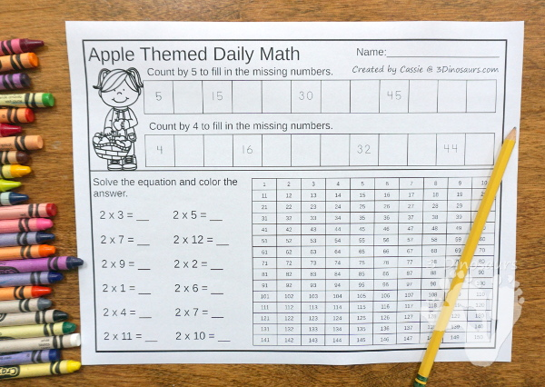 No Prep Fall Themed Addition & Subtraction and Multiplication & Division - 30 pages no-prep printables with a mix of addition and subtraction or multiplication and division activities plus a math center activities with three fall themes: general fall, apples and pumpkins - 3Dinosaurs.com #noprepmath #tpt #addition #subtraction #multiplication #division #fallforkids #pumpkins #apples #fall