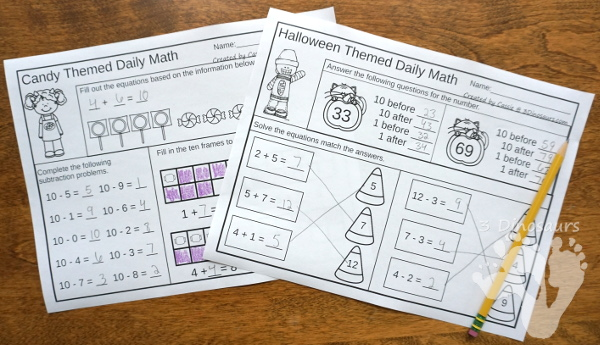 No Prep Halloween & Candy Themed Addition & Subtraction and Multiplication & Division - 30 pages no-prep printables with a mix of addition and subtraction or multiplication and division activities plus a math center activities with Halloween and candy themes - 3Dinosaurs.com #noprepmath #tpt #addition #subtraction #multiplication #division #halloween #candytheme #fall