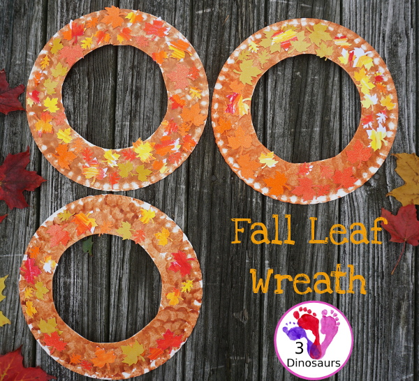 Fall Leaf Themed Wreath - fun wreath that kids can make with oil pastels and leaf punches - 3Dinosaurs.com