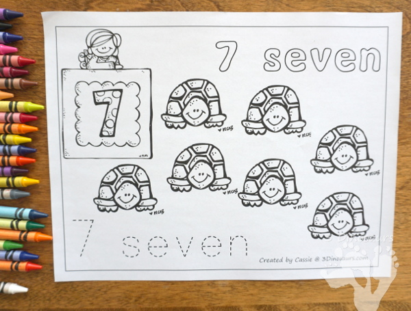 Free Number Coloring Pages - numbers 0 to 20 with easy no-prep pages to print - 3Dinosaurs.com