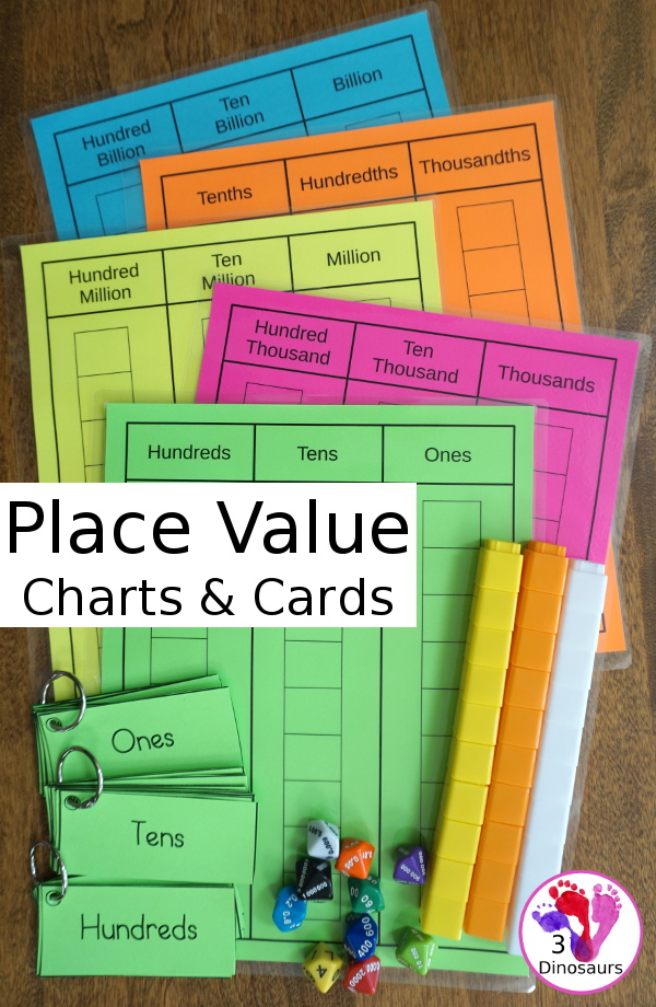 Free Place Value Mats & Cards - charts and cards for place value from ones to billions with tenths, hundredths and thousandths for decmials - 3Dinosaurs.com #freeprintable #handsonmath #mathprintables #firstgrade #secondgrade #thirdgrade #fourthgrade