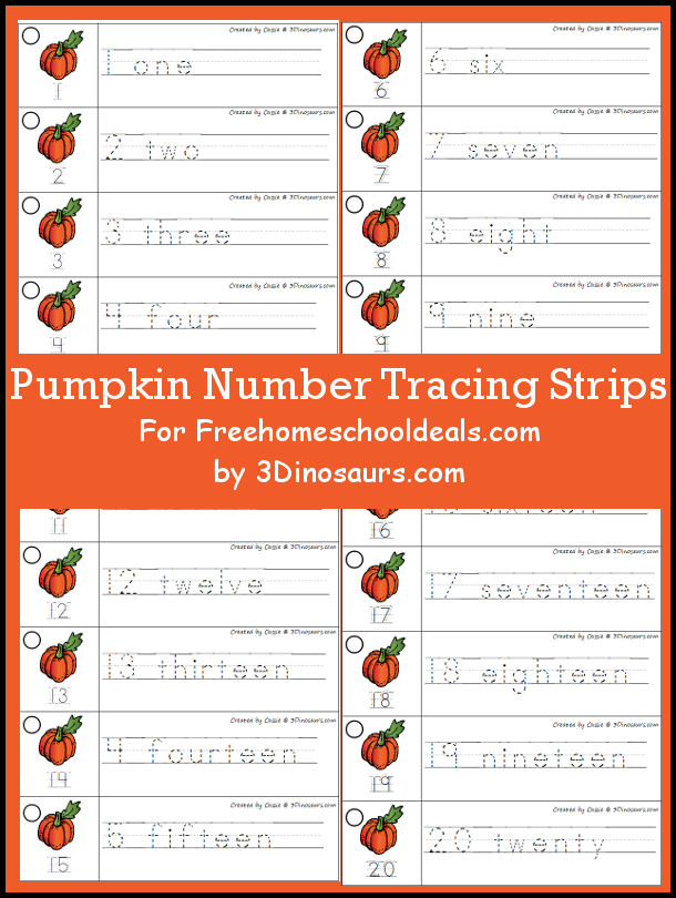 Free Pumpkin Theme Number Tracing Strips - with numbers 1 to 20 - 3Dinosaurs.com