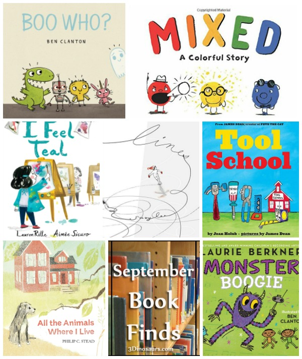 September 2018 Book Finds: friends, animals, wordless, color mixing, tools, cooperation, monsters, fear, bedtime, feelings, colors - 3Dinosaurs.com