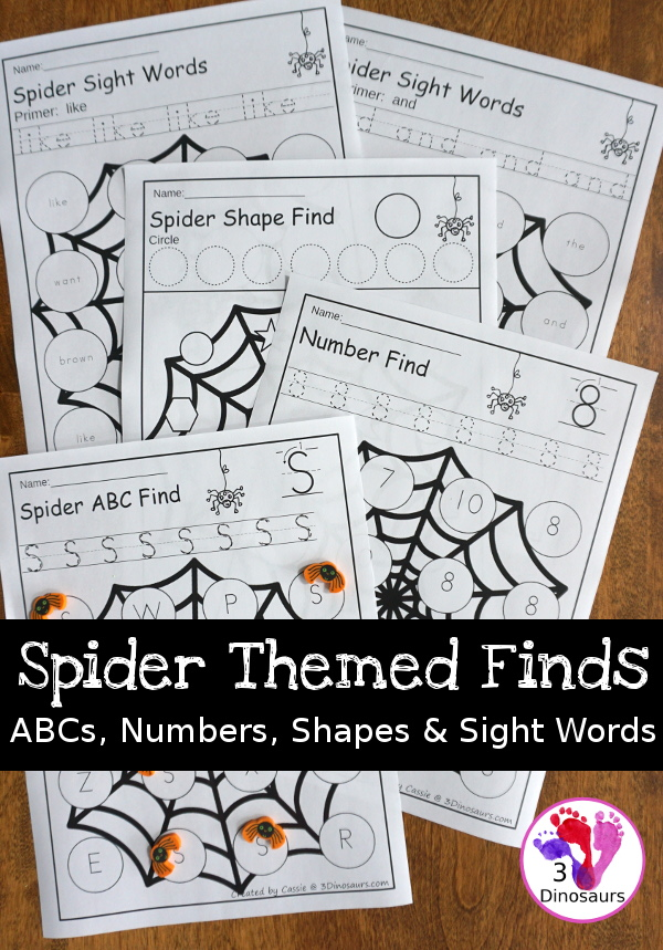 Spider Themed Finds: ABC, Numbers, Shapes & Sight Words - 3Dinosaurs.com #abcs #print #learningtoread #abcs #numbers #shape #spidertheme #halloween